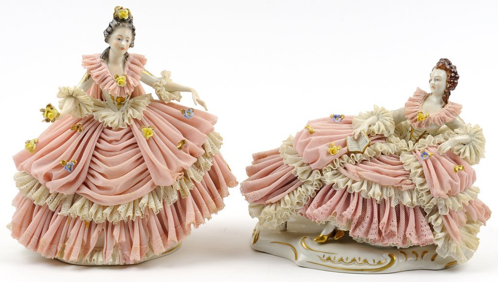 TWO GERMAN DRESDEN LACE PORCELAIN FIGURES
