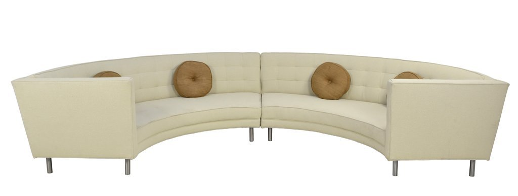 A MID CENTURY MODERN BUTTON TUFTED SECTIONAL SOFA