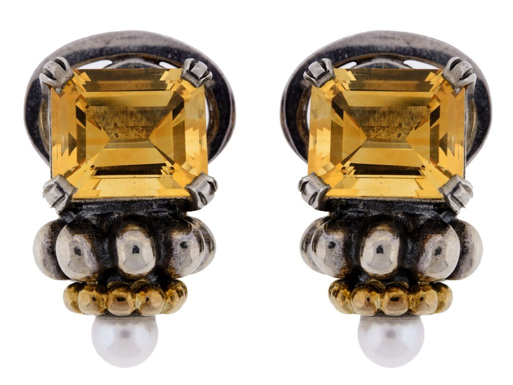 "A PAIR OF LAGOS ""CAVIAR"" STERLING SILVER, 18K GOLD,"