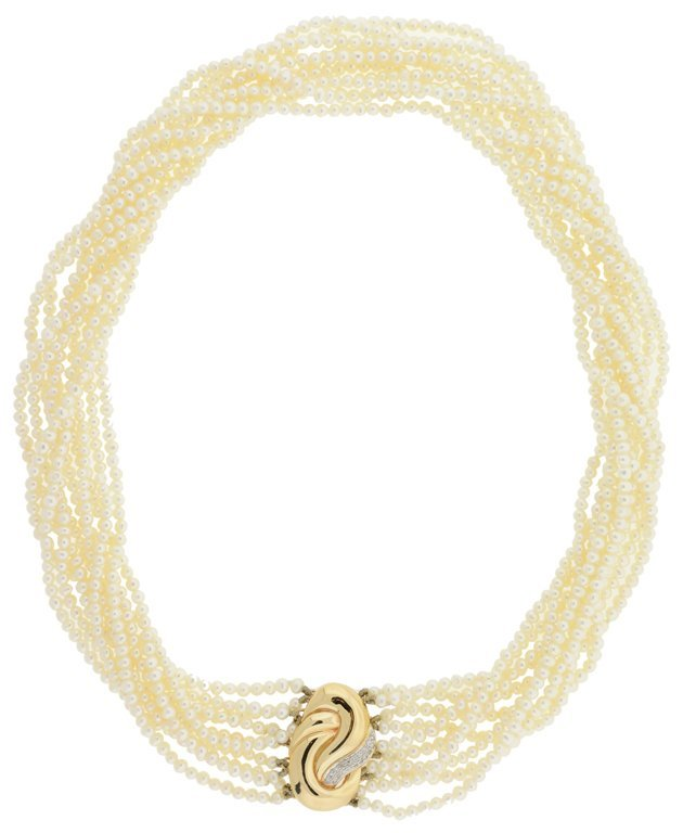 A 14K GOLD, DIAMOND, AND PEARL CHOKER NECKLACE