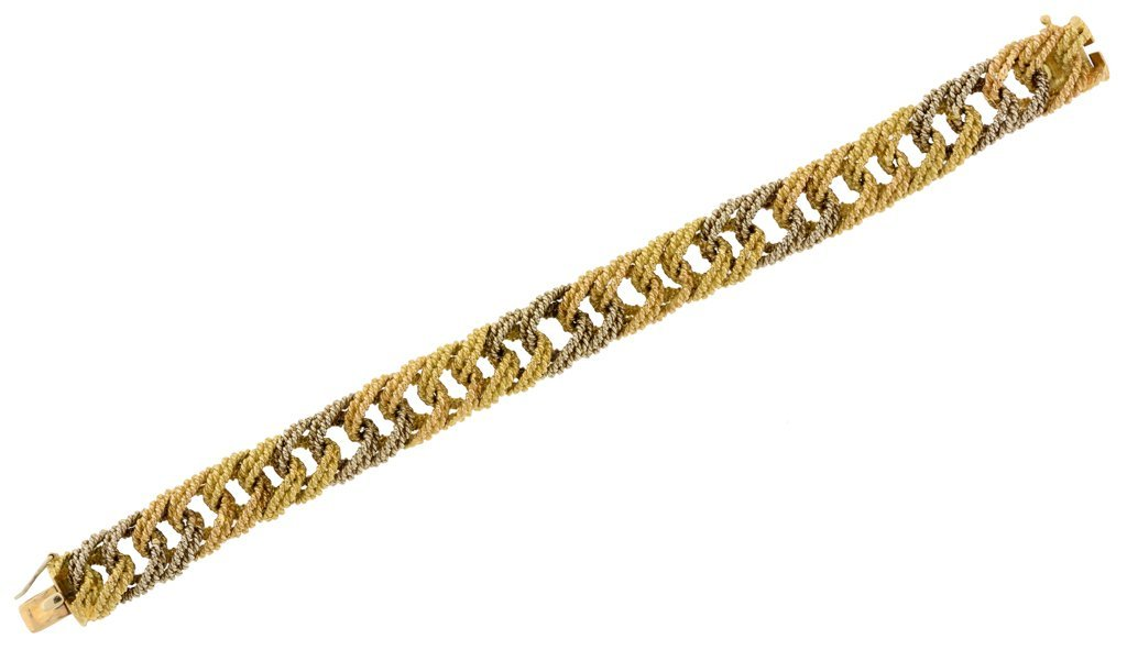A BULGARI 18K WHITE AND YELLOW GOLD DOUBLE ROPE CHAIN