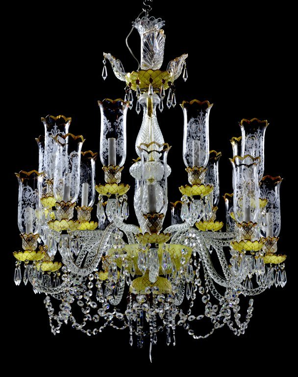 A BACCARAT STYLE EIGHTEEN-LIGHT CRYSTAL AND ENAMELED