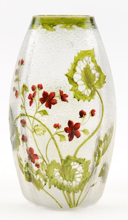 AN ENAMELED CAMEO GLASS VASE
