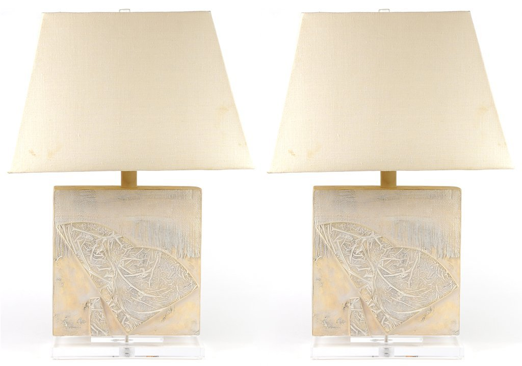 A PAIR OF SOUTHWEST STYLE TEXTURED LAMPS