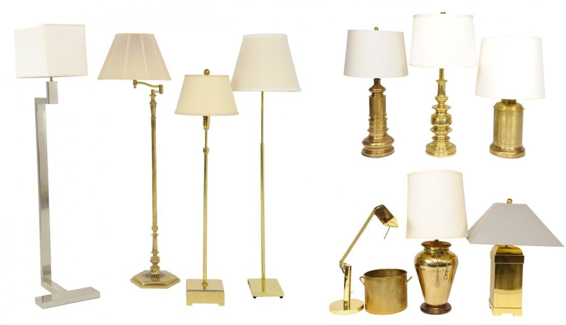 A COLLECTION OF BRASS LIBRARY, TABLE LAMPS AND FLOOR
