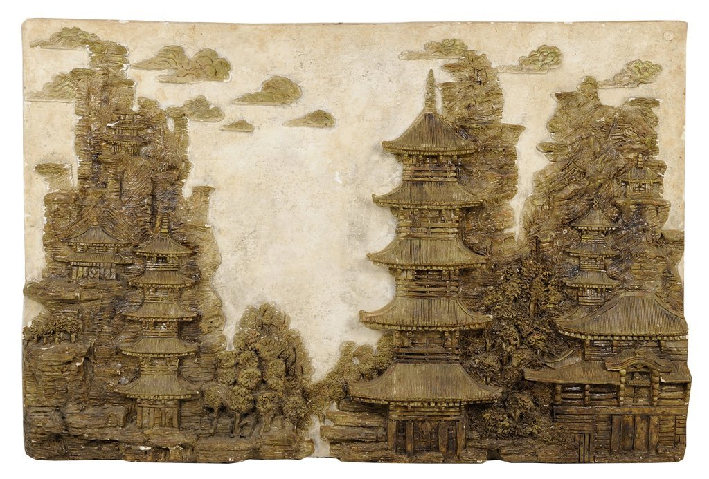 A CHINESE STYLE PLASTER WALL SCULPTURE BY HAROLD