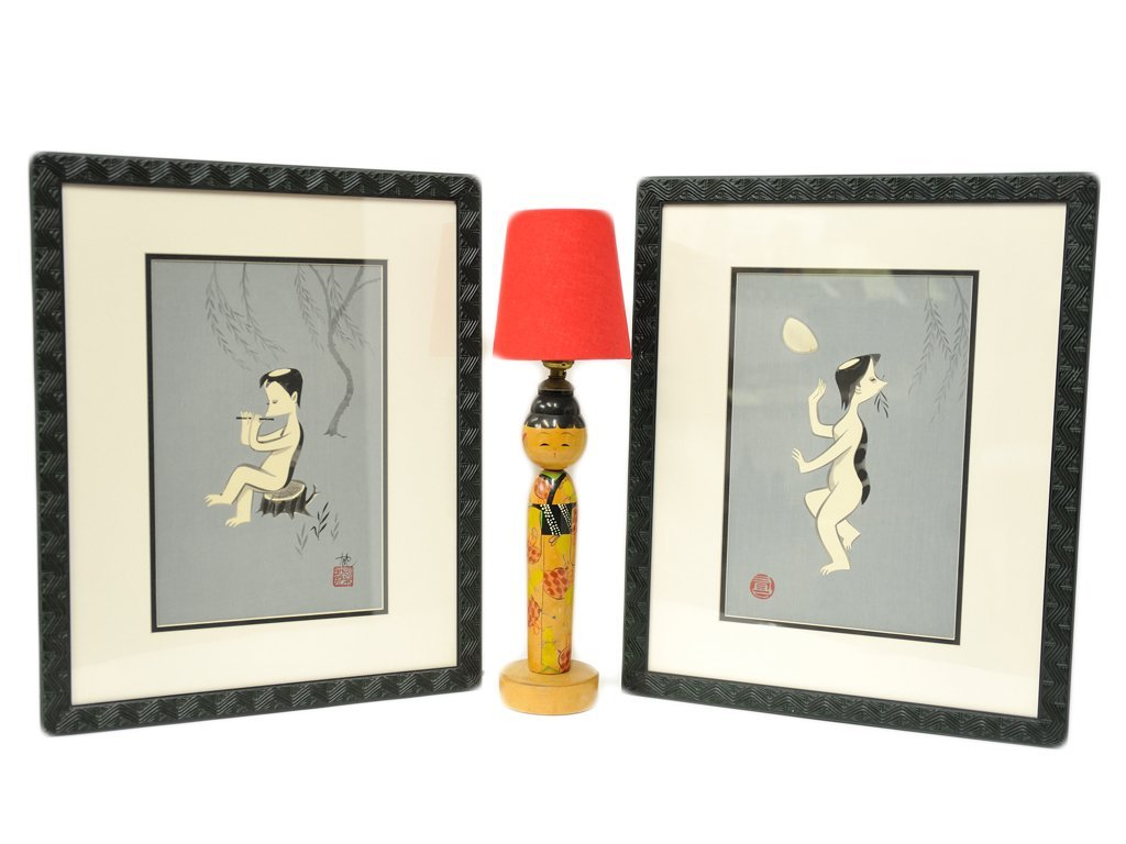 A PAIR OF ARTIST SIGNED MODERN JAPANESE PRINTS AND A