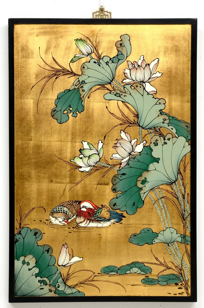 AN ASIAN STYLE PAINTED COROMANDEL HANGING PANEL