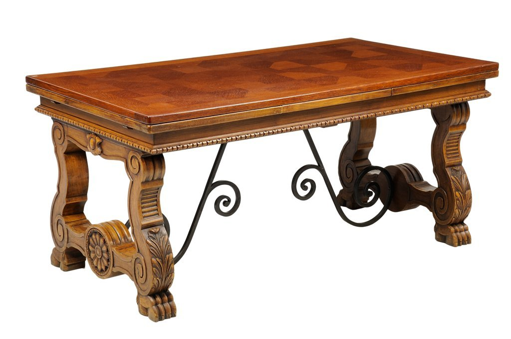 A GOTHIC REVIVAL TRESTLE TABLE