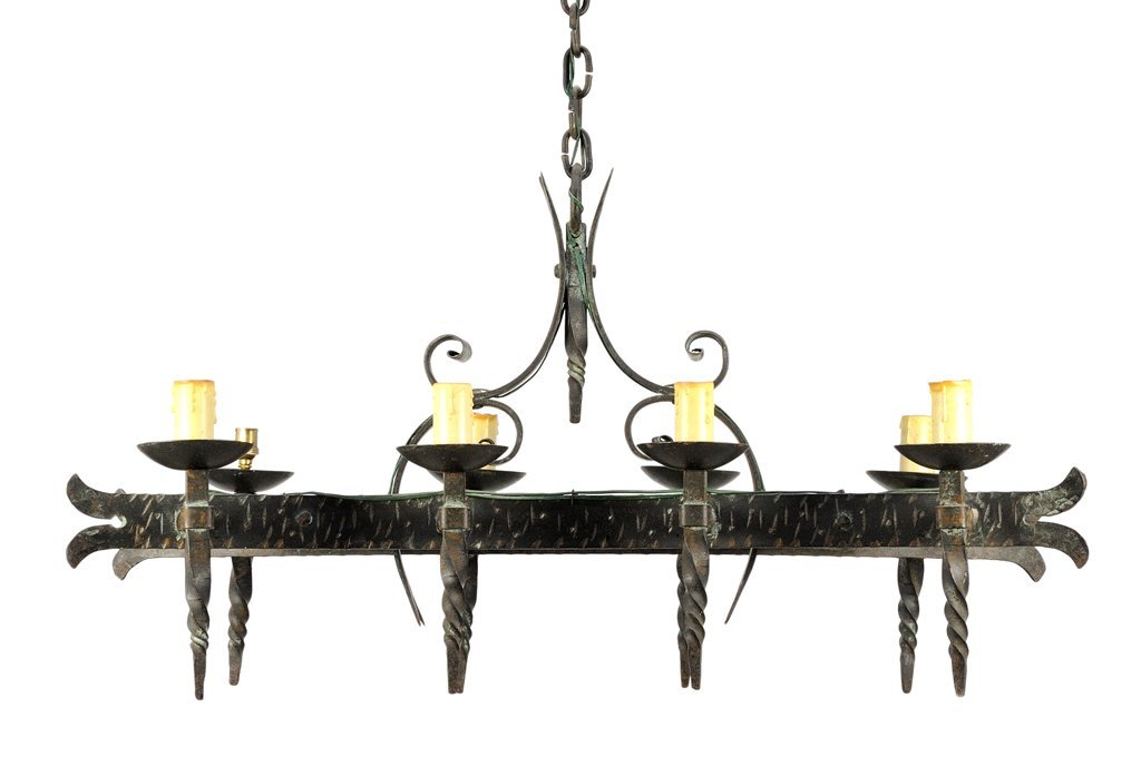 A SPANISH GOTHIC STYLE EIGHT-LIGHT WROUGHT IRON