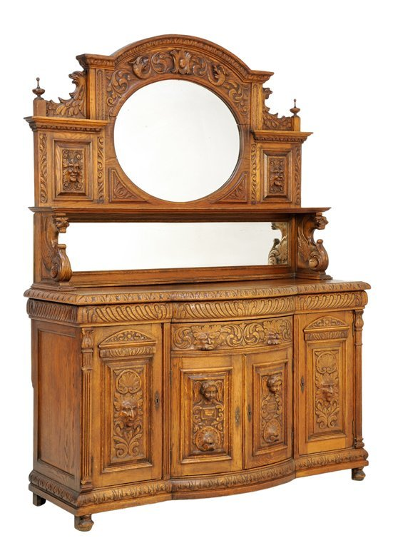 A FRENCH GOTHIC REVIVAL SIDEBOARD WITH MIRROR