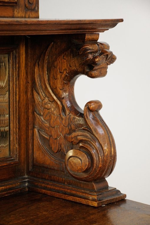 A FRENCH GOTHIC REVIVAL SIDEBOARD WITH MIRROR - 3