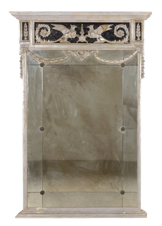 A GOTHIC REVIVAL SILVERED WOOD MIRROR
