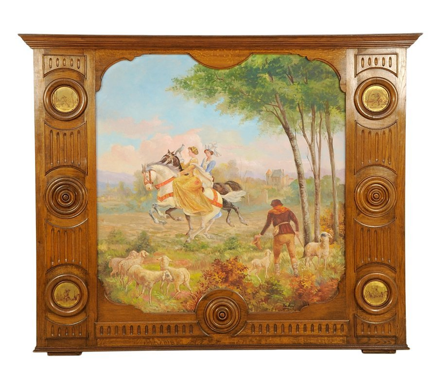 A CONTINENTAL PAINTED MANTEL SURROUND