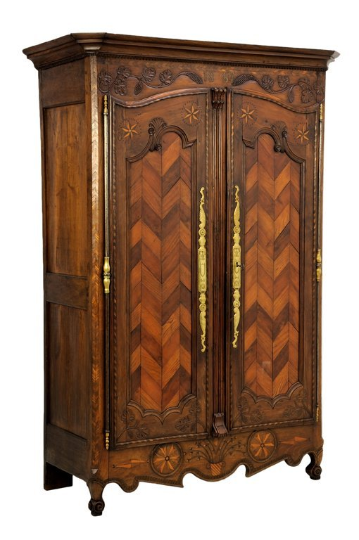 A FRENCH LOUIS XV STYLE PARQUETRY ARMOIRE
