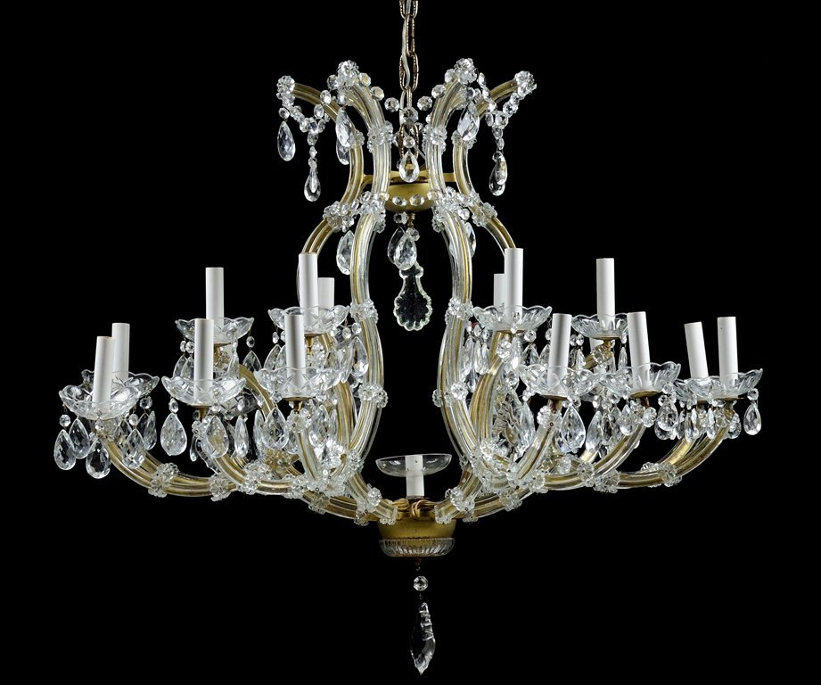 A MARIA THERESA STYLE CASED GLASS EIGHTEEN-LIGHT