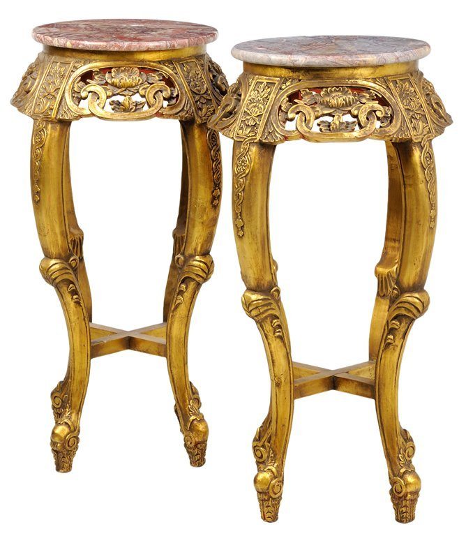 A PAIR OF FRENCH LOUIS XV STYLE GILTWOOD PEDESTAL