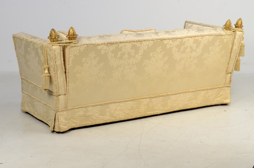 A FRENCH GILTWOOD AND UPHOLSTERED KNOLE SOFA - 4