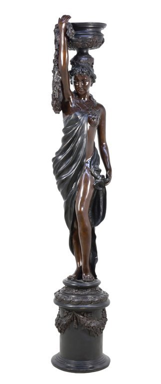 A CONTINENTAL STYLE BRONZED FIGURAL FOUNTAIN