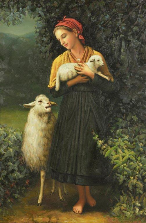 ARTIST UNKNOWN, (20th century), Shepherd with Sheep,