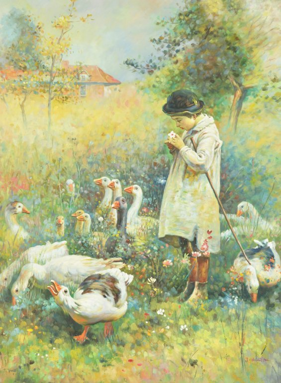 J. HAMILTON, (20th century), Child with Flock of Geese,