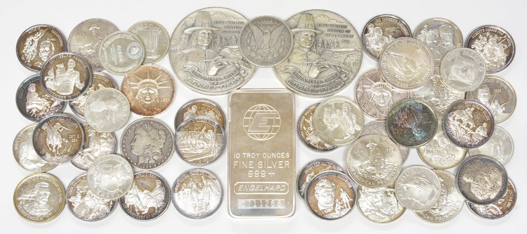A COLLECTION OF SILVER COINS 47 pieces total.