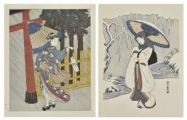 AFTER SUZUKI HARUNOBU, (Japanese, 1724-1770), Woman
