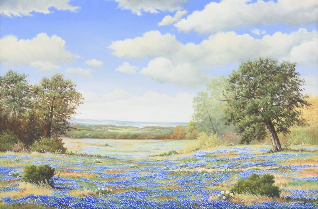 JUDY GIBSON, (American), Bluebonnets, Oil on canvas, H