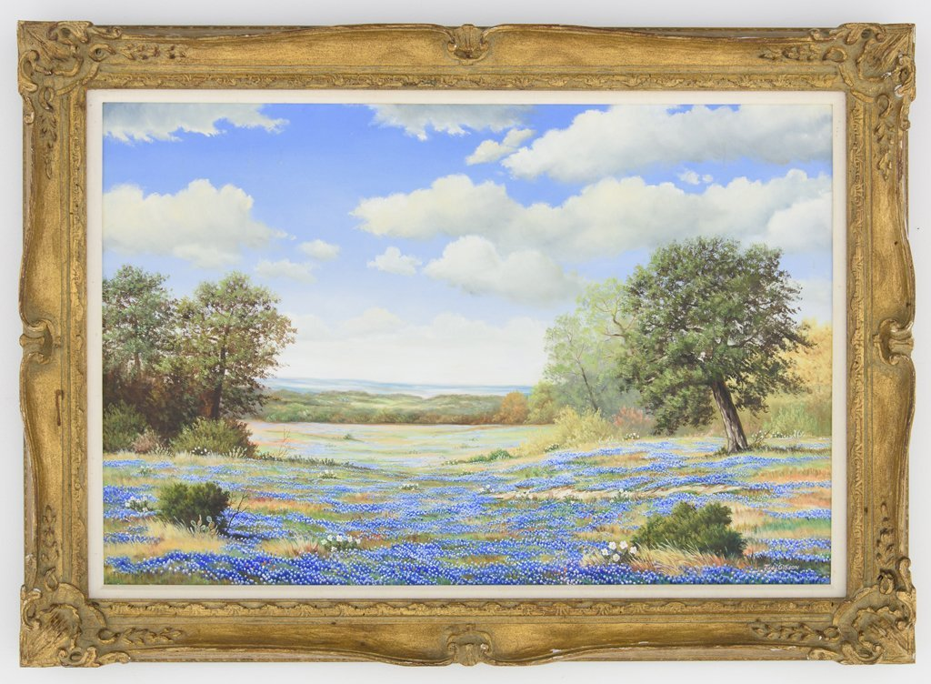 JUDY GIBSON, (American), Bluebonnets, Oil on canvas, H - 2