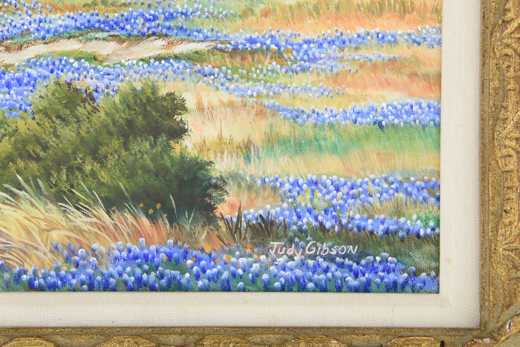 JUDY GIBSON, (American), Bluebonnets, Oil on canvas, H - 3