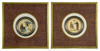A PAIR OF GREEK PAINTED TERRACOTTA PLATES