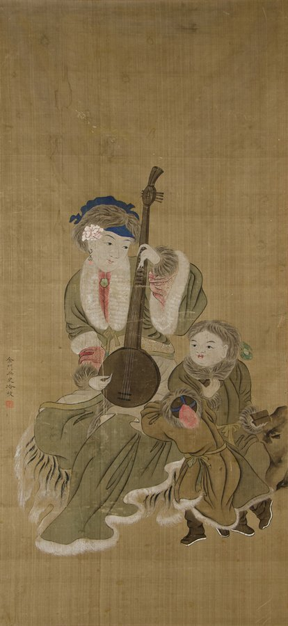 AN ANTIQUE CHINESE PAINTING ON SILK