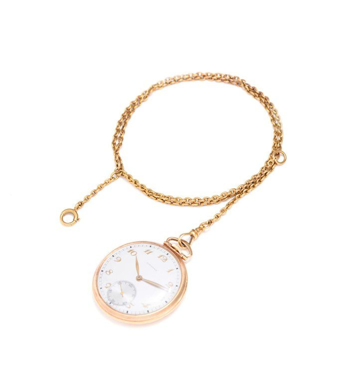 A GOLD POCKET WATCH WITH GOLD CHAIN