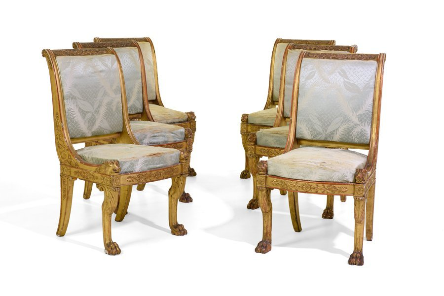 A MAGNIFICENT SET OF SIX REGENCY PERIOD CARVED GILTWOOD