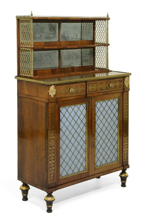 A SUPERB REGENCY ROSEWOOD, BRASS MARQUETRY AND GILT