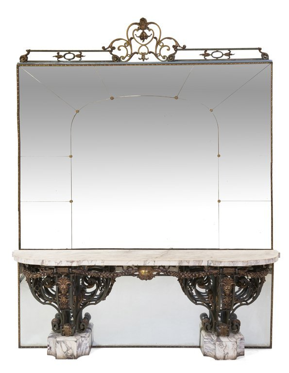 A FER FORGE WROUGHT IRON MARBLE TOP CONSOLE TABLE WITH