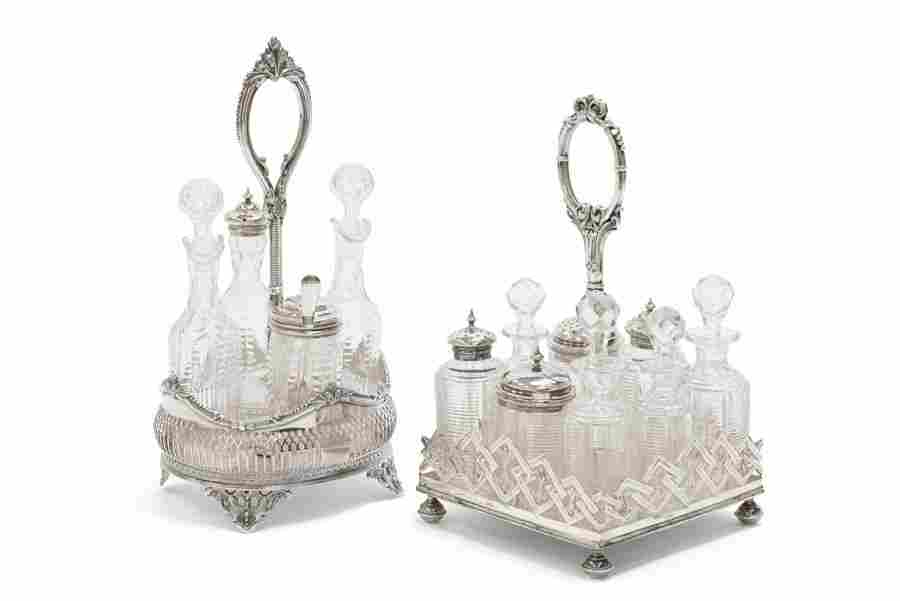 TWO VICTORIAN SILVER-PLATE AND GLASS CRUET SETS