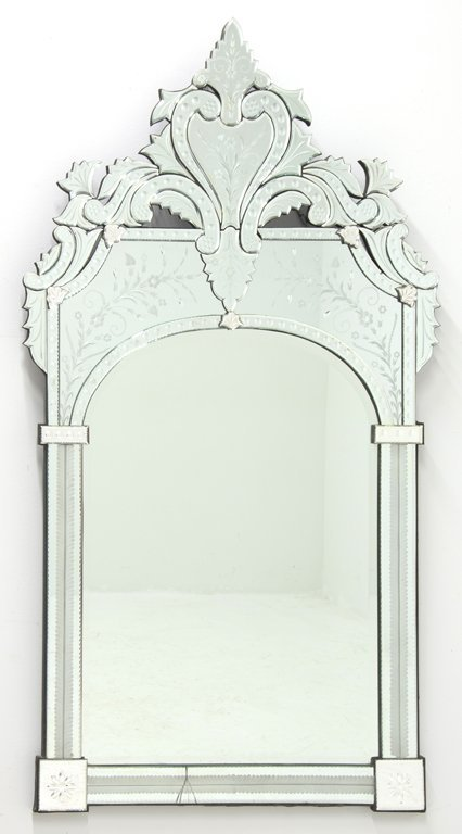 A VENETIAN CUT AND ETCHED GLASS MIRROR