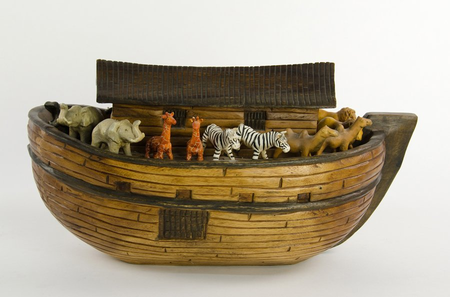 A CARVED WOODEN NOAH'S ARK