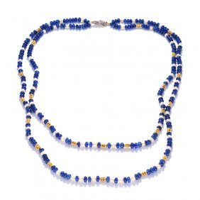 A Sapphire Rondell Necklace With Natural Pearls