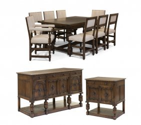 A Jacobean Style Carved Oak Dining Set