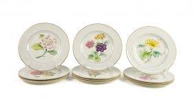 A Set Of Twelve Pickard Porcelain Hand-painted Floral