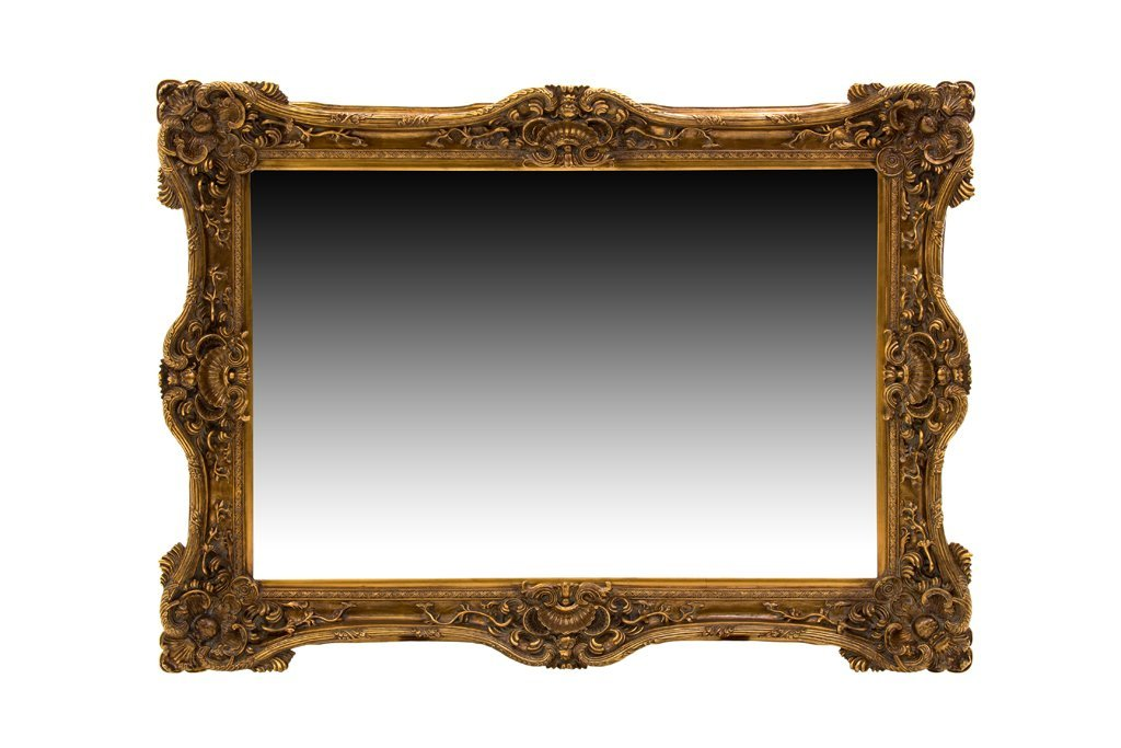 A LARGE CONTINENTAL STYLE GILT MIRROR