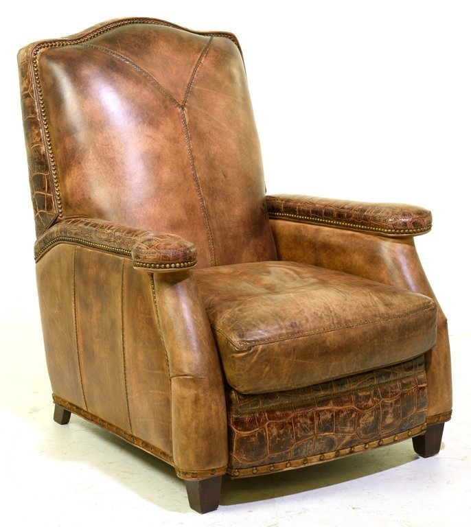 LEATHER AND FAUX ALLIGATOR SKIN RECLINING CLUB CHAIR
