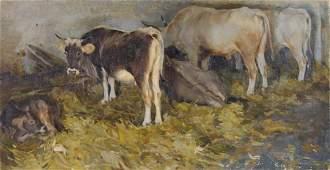 UMBERTO COROMALDI, (Italian, 1870-1948), Cows, Oil on