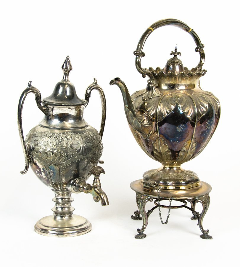 A SILVER-PLATED SAMOVAR AND POURING KETTLE