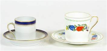 A SET OF SIX AYNSLEY 'FAMILLE ROSE' PATTERN CUPS AND