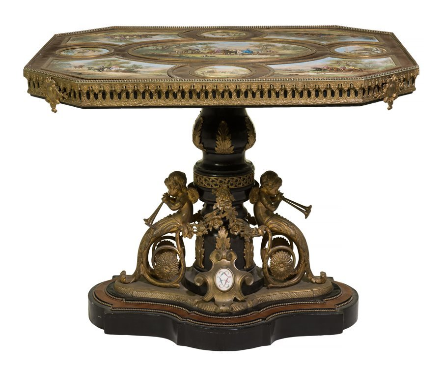 A FRENCH SATINWOOD VENEERED SEVRES STYLE PORCELAIN AND