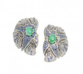 A Pair Of Emerald Earrings With Sapphires And Diamonds