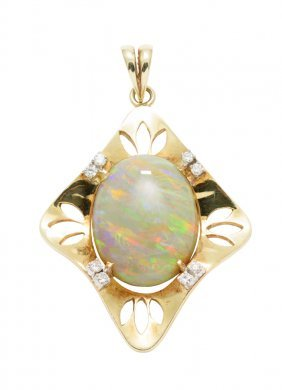 An Opal And Diamond Pendant